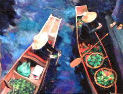 Shanghai Boats at Market Oil on Canvas Painting