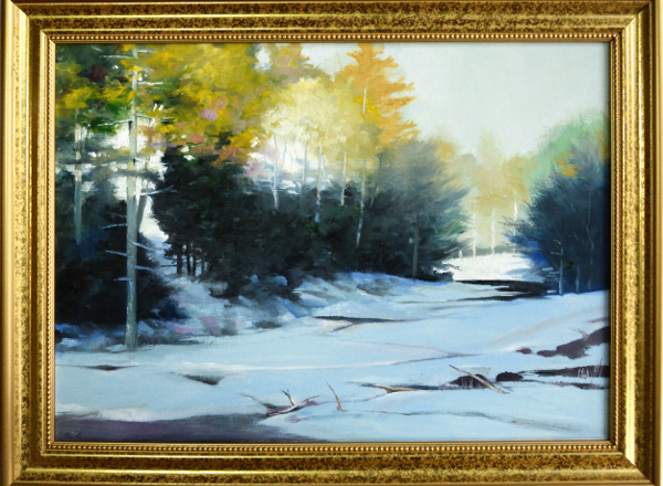 Frozen River in Sunlight painting by Robert W Moore